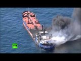 Aerial footage: Russian tanker on fire in Caspian Sea