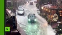Grèce : des orages et de fortes pluies perturbent la circulation à Metsovo