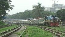 Tista Express (Dhaka to Dewangang) Train of Bangladesh Railway departing Dhaka Airport Railway Station