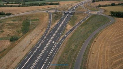 La nouvelle 2x2 voies La Membrolle-sur-Longuenée - Le Lion d'Angers vue du ciel