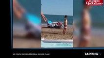 Un couple en plein sexe oral sur une plage avec plein d'enfants (Vidéo)