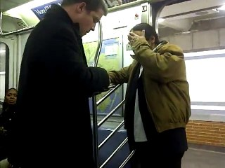 This man tries to stop a fight in the subway