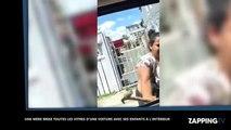 Une femme brise les vitres de la voiture de son mari avec ses enfants à l'intérieur ! (Vidéo)