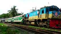 Chittagong bound Mahanagar provati Express Train of Bangladesh Railway departing Dhaka Airport Railway Station