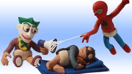 Spider Baby Superhero Daycare Toddler Batman + Joker Play Doh Stop Motion in Real Life Superheroes