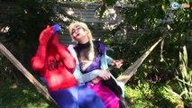 Frozen Elsa & Spiderman vs EVIL ELSA Princess Anna, Joker, Maleficent, Hulk, Superheroes IRL