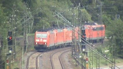 Bahnen zwischen Loreley und Roßsteintunnel Teil 02,Lokzug, 2x 151, 4x 185, 2x 143, 3x 428