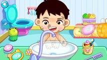 Bébé baignade salle de bains brosse mains les dents le le le le la toilette entraînement lavage  