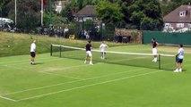 Andy Murray plays football tennis in Wimbledon warm up