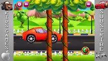 Voiture des voitures les dessins animés enfants au volant pour enfants rouge roues animation garage |