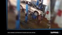 Deux hommes écrasés sous une voiture dans un garage, les images chocs (Vidéo)