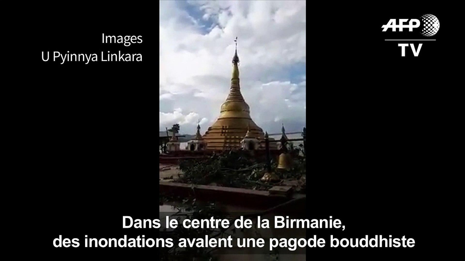 Birmanie: des inondations avalent une pagode