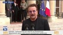 """Bono après sa rencontre avec Macron: """"Nous avons parlé de la crise des réfugiés"""""""