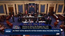 i24NEWS DESK | In first vote Senate votes down Healthcare repeal | Wednesday, July 26th 2017