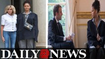 Rihanna meets with French President Emmanuel Macron in Paris