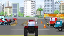 The Yellow Bulldozer digging with Excavator | Construction Trucks & Vehicles Cartoons for children