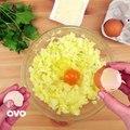 Lanche - Enrole queijo e presunto nas batatas
