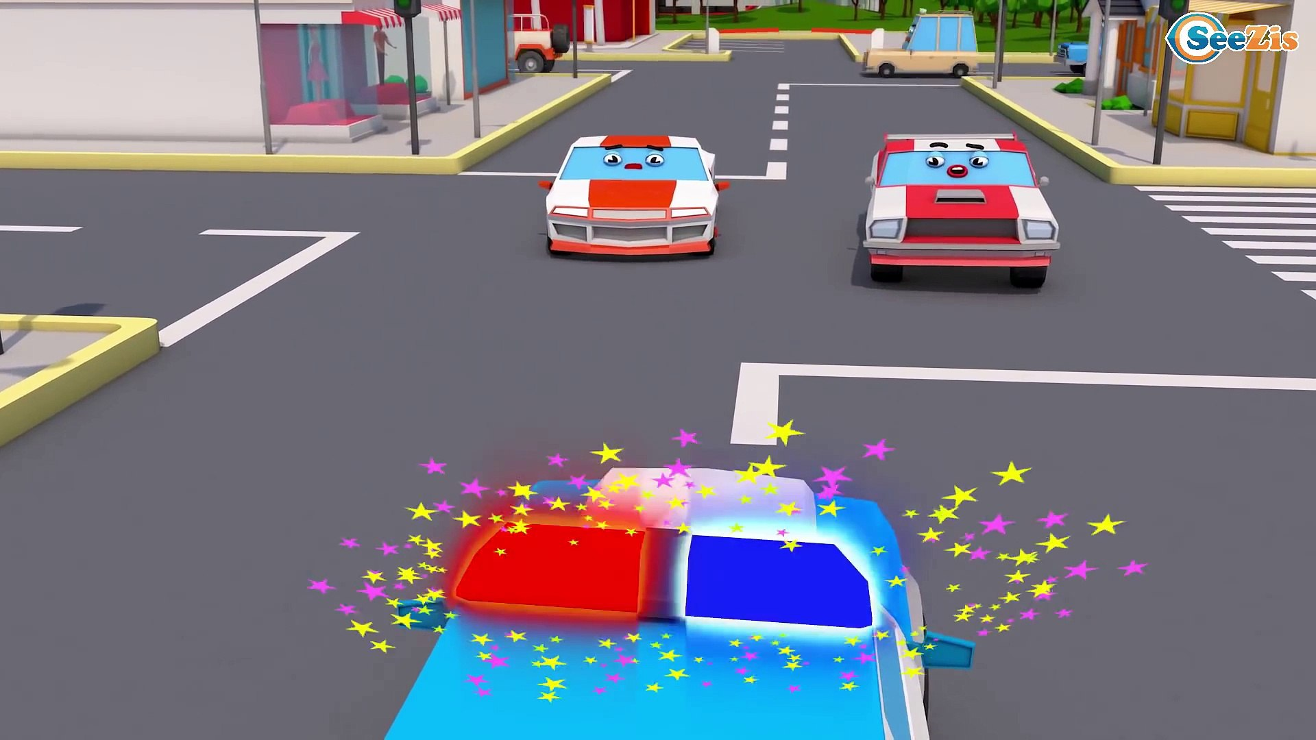 Colors Cars Transportation - Police Car Racing Car Monster Truck & Trucks Cars & Truck Stori