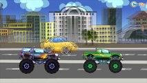 Carros Para Niños. Un camion monstruo, Coche de policía. Caricaturas de carros. Tiki Taki Carros