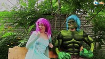 Frozen Elsa & Spiderman vs Hulk & Maleficent! Elsa loves Superheroes. Superheroes in Real Life