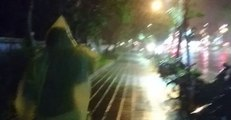 Typhoon Winds Make Walking the Streets of Taipei Difficult