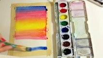 Un et un à un un à Comment océan peindre peinture paume paysage marin Vitesse le coucher du soleil à Il des arbres aquarelle avec