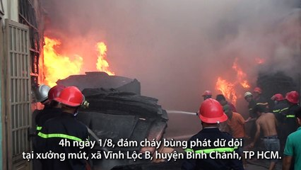 5 giờ khống chế ngọn lửa tại xưởng mút ở Sài Gòn
