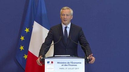 Point presse de Bruno Le Maire sur les chantiers navals STX de Saint-Nazaire, le 27 juillet 2017