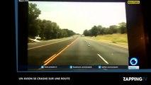Etats-Unis : Le crash impressionnant d'un petit avion sur une autoroute (vidéo)