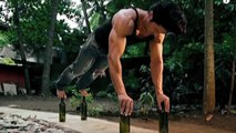 Vidyut Jamwal Does Push-ups Balancing On Glass Bottles