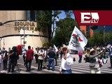 Granaderos bloquean manifestación de campesinos en Reforma/ Mariana H y Kimberly Armengol