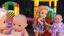 Y Ana bebé cuidar a los niños baño muñecas congelado divertido patio de recreo Limo tiempo niños pequeños juguetes Elsa 2