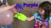 Aprender colores con mamá barriguita y color champú botellas Niños aprendizaje Juegos Niños Aprender