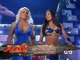 2007 07 23 RAW Mickie James & Maria vs Melina & Beth Phoenix Santino Marella on Commentary