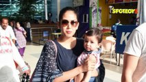 SPOTTED Mira Rajput with Daughter Misha at the Airport