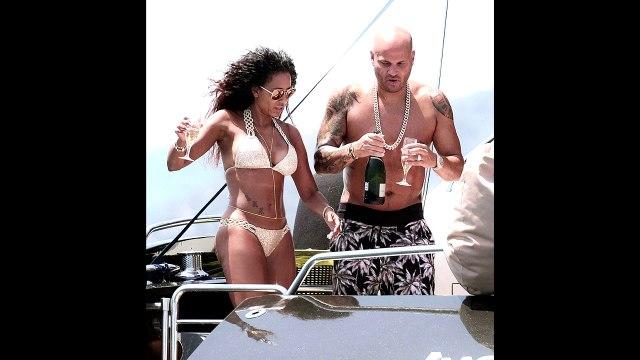 Melanie Brown big ass booty in tight bikini in Ibiza