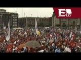 Organizaciones sindicales se manifiestan en conmemoración del 1 de mayo en el Zócalo del DF
