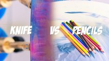 EXPERIMENT Glowing 1000 degree KNIFE VS 20 OBJECTS! Crayons Orbeez School Supplies Toys! S