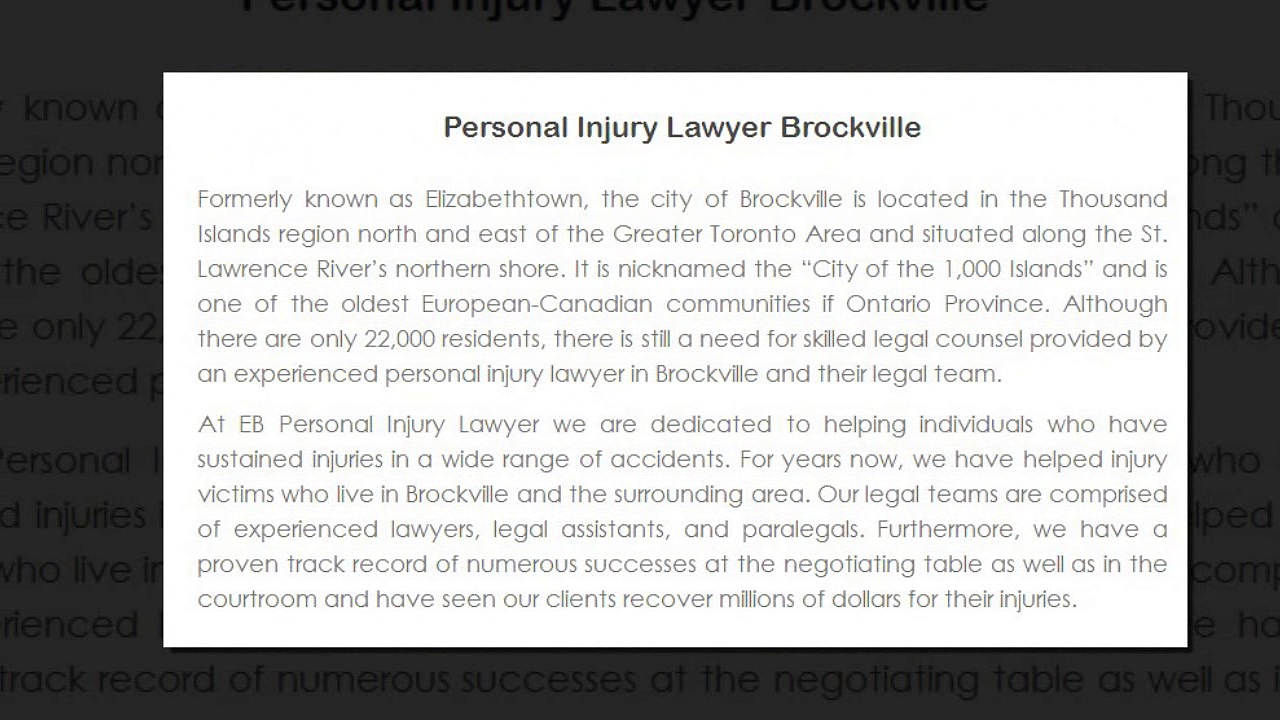 Personal Injury Lawyer Brockville ON – EB Personal Injury Lawyer (800) 314-8169