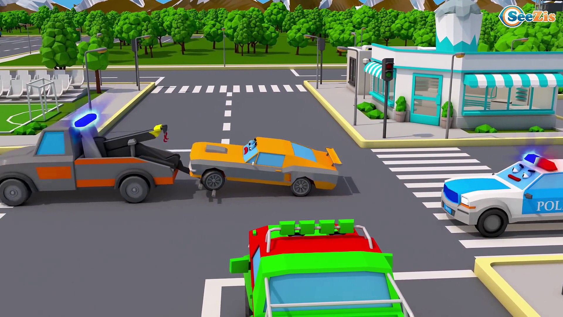 Police car Ambulance & Little Racing Cars In Car Cartoon for Baby 3D Animation Cars & Truck