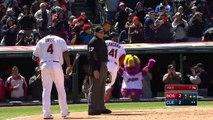 2016 Indians: Marlon Byrd lifts a sacrifice fly, knocks in Carlos Santana vs Red Sox (4.05