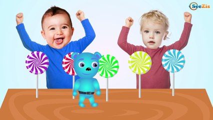 Learn Colors with Bad Baby Crying Candy Lollipops | Finger Family Nursery Rhymes Songs