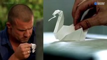 Wentworth Miller and Dominic Purcell Trying to make origami
