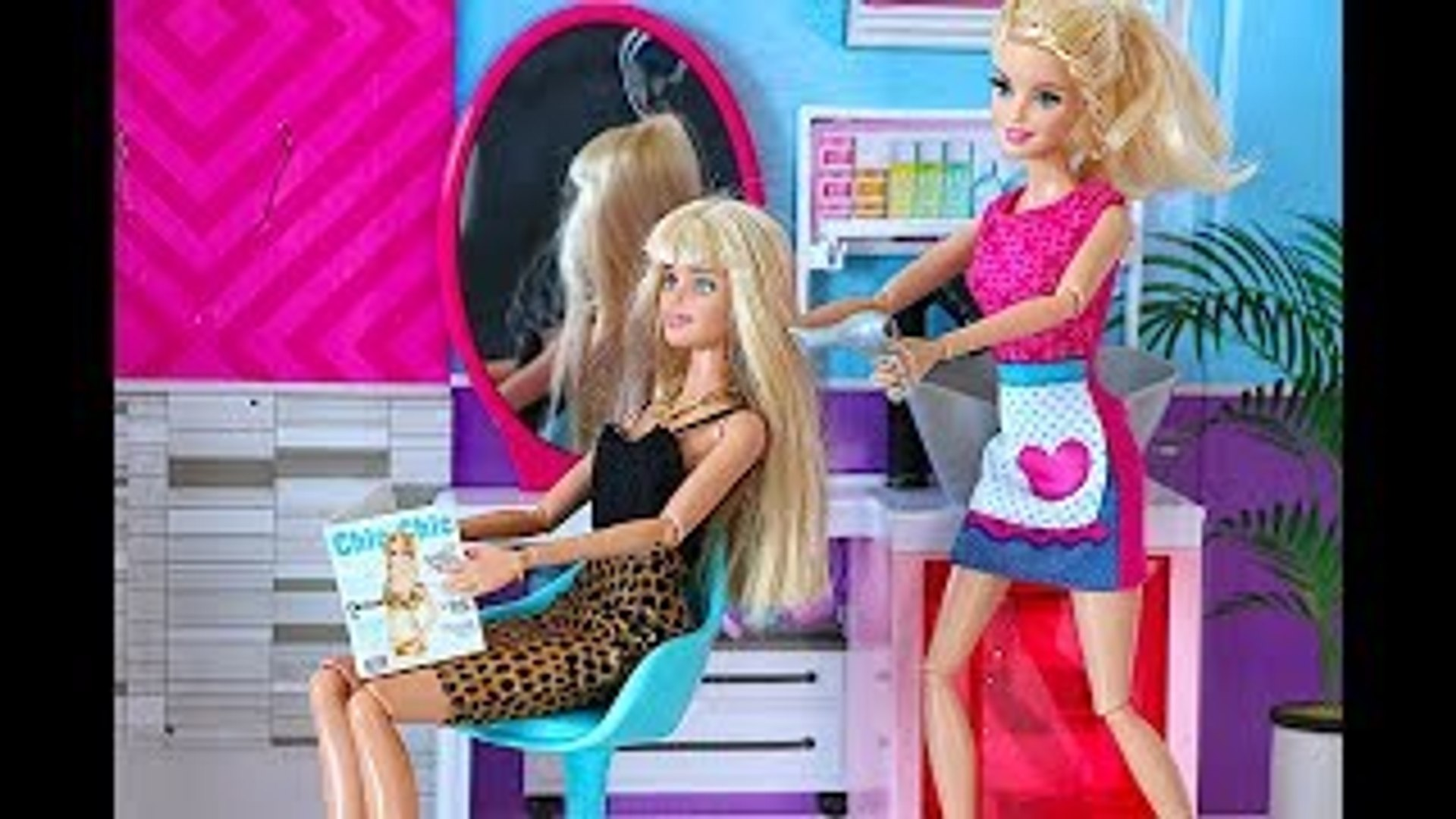Barbie Doll Hair Style Salon - Playing baby doll DYI Hair Cut Toys