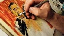 Painting Hammer Horror Dracula Christopher Lee & Caroline Munro