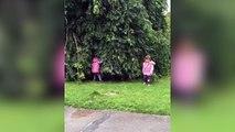 Deux petites filles font une partie de cache-cache !
