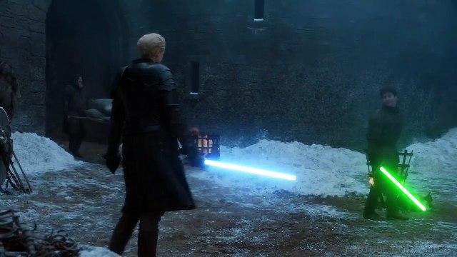 Combat entre Arya et Brienne au sabre laser !! Game of Thrones + Star Wars