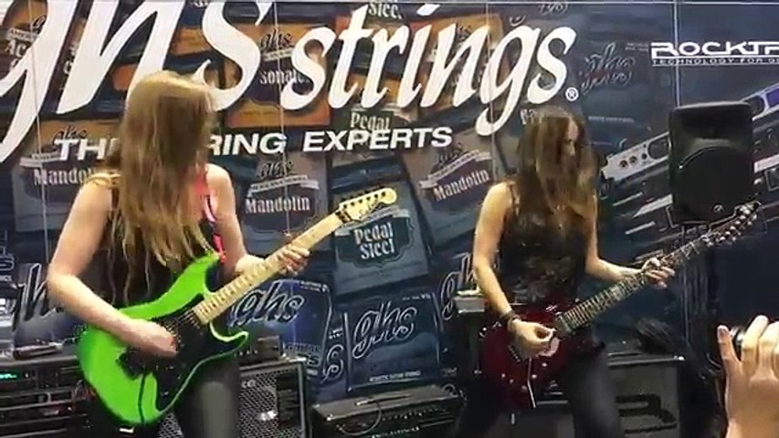 Nikki Stringfield and Courtney Cox of The Iron Maidens Jam at NAMM 16