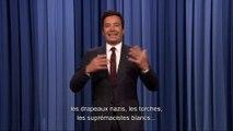 Les larmes aux yeux, le présentateur Jimmy Fallon réagit aux événements de Charlottesville et aux propos de Trump
