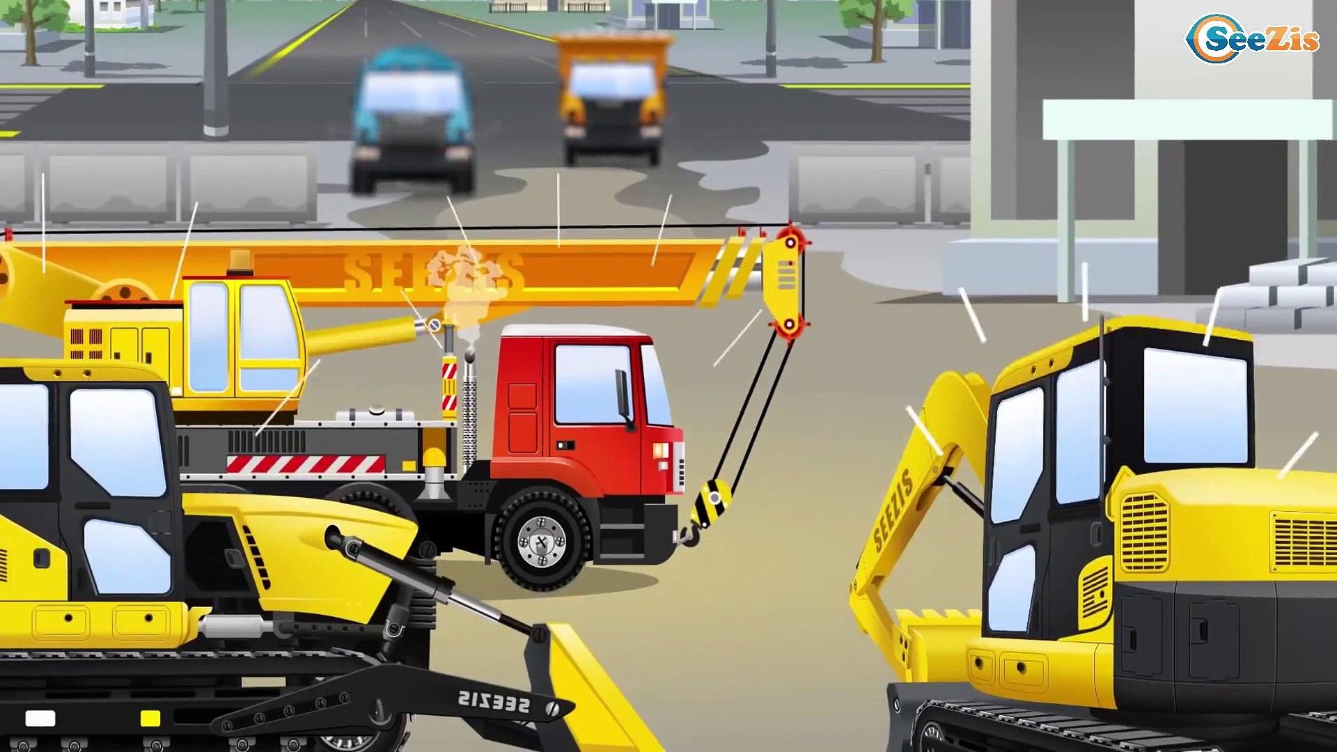 Мультики для детей Трактор едет на помощь в городке Видео для детей Tractor on the road kids video